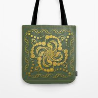 Alien Inspiration Gold and Green Abstract Tote Bag