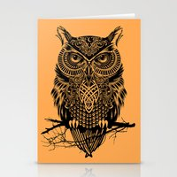 owl Stationery Cards featuring Warrior Owl 2 by Rachel Caldwell