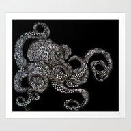 Barnacle Octopus In Blac… Art Print