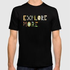 Explore More. Black Mens Fitted Tee SMALL