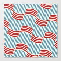 Vintage Basketweave: Ribbon Canvas Print