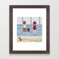 Embroidered Beach Illust… Framed Art Print