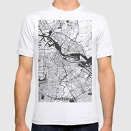 Amsterdam Map Gray Mens Fitted Tee Ash Grey SMALL