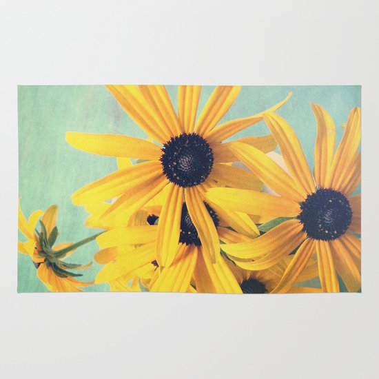 Sweet Yellow Flowers Area & Throw Rug