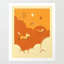 Art Print - FLOCK OF FOXES - Jazzberry Blue