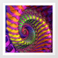 Coloured Spiral wheel Art Print