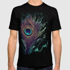 Peacock Feather SMALL Mens Fitted Tee Black