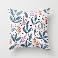Painted Leaves Throw Pillow