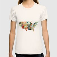 Geometric United States Womens Fitted Tee Natural SMALL