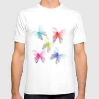 Butterfly pink azalea in pastel color stripes background. Floral botanical graphic art. Mens Fitted Tee White SMALL