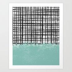 Mila - Grid and mint -  paint, art, artist cell phone case, grid phone case Art Print