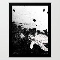 Sea Foam Sea Turtle (B/W… Art Print