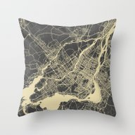 Montreal Map Throw Pillow