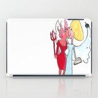 Angel/devil lesbian kiss iPad Case