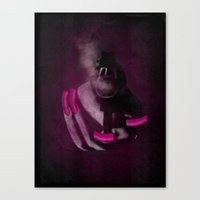 Bang Bang Gun Smoke  Pink Grunge Nails  Canvas Print