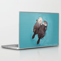 hope Laptop & iPad Skins featuring Otterly Romantic - Otters Holding Hands by When Guinea Pigs Fly