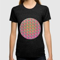 Candybuttons Pattern Womens Fitted Tee Tri-Black SMALL