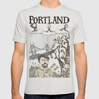 Portland, Oregon Mens Fitted Tee Silver SMALL