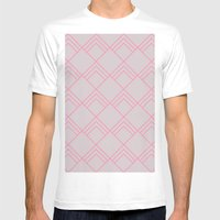 Diamond Art Deco; - Pink Mens Fitted Tee White SMALL