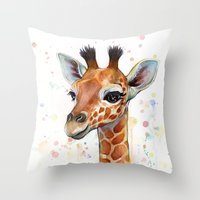 Giraffe Baby Throw Pillow