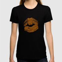 GLITTER KISS Womens Fitted Tee Black SMALL