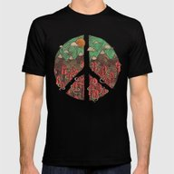 Peaceful Landscape Mens Fitted Tee Black SMALL