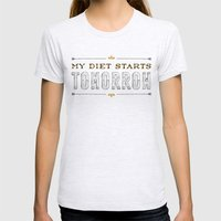 My Diet Starts Tomorrow Womens Fitted Tee Ash Grey SMALL