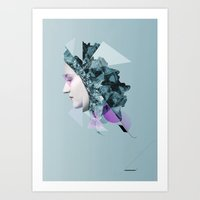 Faces Blue 04 Art Print
