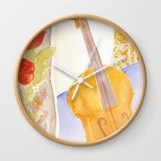 Violin and Roses Wall Clock