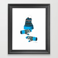 Knitted Geometry, Blue Framed Art Print