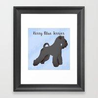 Kerry Blue Terrier Dog Silhouette Framed Art Print