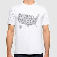 United States of Hand Lettering Mens Fitted Tee Ash Grey SMALL