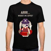 Pirate Bunny Needs Coffee Mens Fitted Tee Black SMALL