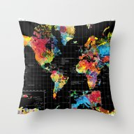 Abstract World Map Black Throw Pillow