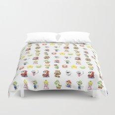 Mario Characters Watercolor  Duvet Cover