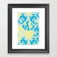 Pixel Floral Blue/yellow Framed Art Print