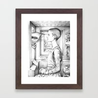 Portrait of a Woman with a Bird at a Casement (The Gay Couple)  Framed Art Print