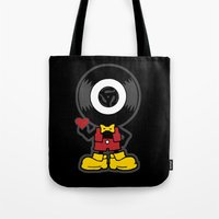 Tote Bag featuring Vinyl Richie by Sheep-n-Wolves Clothing