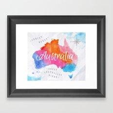 Color Australia Map Framed Art Print