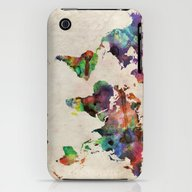 World Map Urban Watercol… iPhone (3g, 3gs) Slim Case