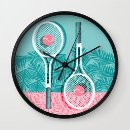Wall Clock - Good to go - memphis throwback 1980s neon pastel abstract sports tennis racquetball athlete game  - Wacka