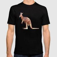 Geometric Kangaroo Mens Fitted Tee Black SMALL