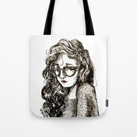Girl with glasses Tote Bag