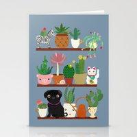 Cactus Shelf with Pug Stationery Cards