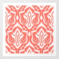Ikat Damask Coral Art Print