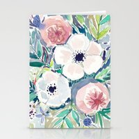 White Anemone Floral Stationery Cards