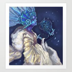 Snow Queen and a SnowFlake Art Print