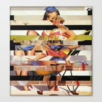 Glitch Pin-Up Redux: Gwe… Canvas Print