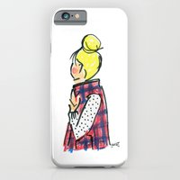 iPhone & iPod Case featuring Top Knot. Buffalo Plaid Vest. by Sophie & Lili