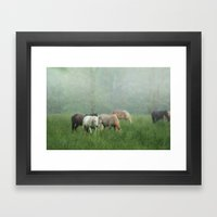 Out In The Rain Framed Art Print